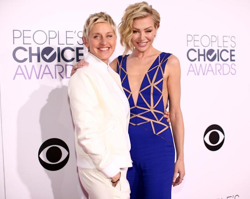 Ellen DeGeneres, here with Aussie wife Portia De Rossi, gushed about the marriage equality YES vote on Twitter. Source: Getty