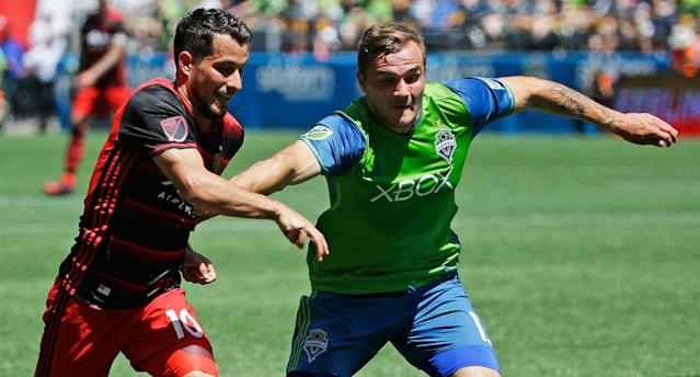 Morris and the Sounders are trying to overcome slow starts to the MLS season. (AP Photo)