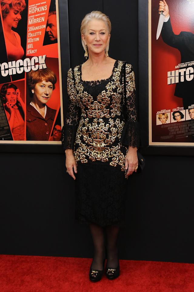"NEW YORK, NY - NOVEMBER 18:  Actress Dame Helen Mirren attends the ""Hitchcock"" New York Premiere at Ziegfeld Theater on November 18, 2012 in New York City.  (Photo by Neilson Barnard/Getty Images)"
