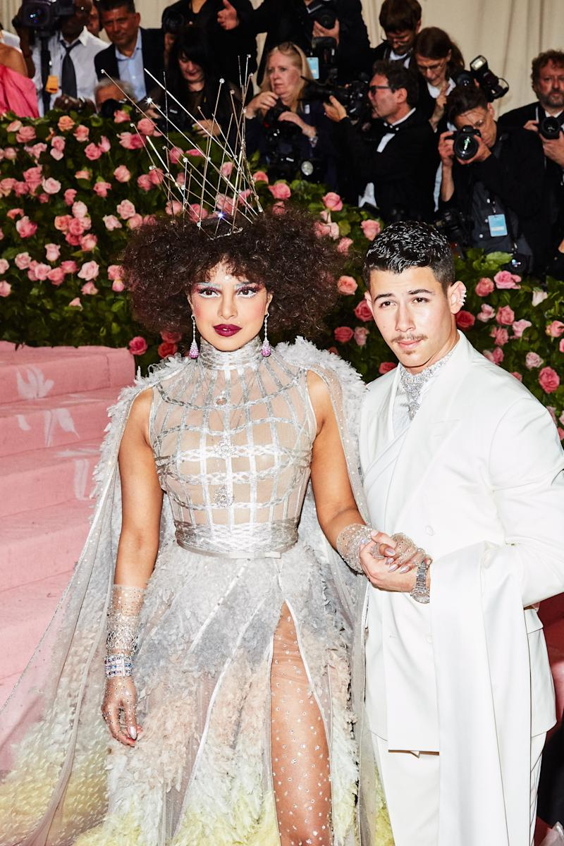 Priyanka Chopra and Nick Jonas on the red carpet at the Met Gala in New York City on Monday, May 6th, 2019. Photograph by Amy Lombard for W Magazine.