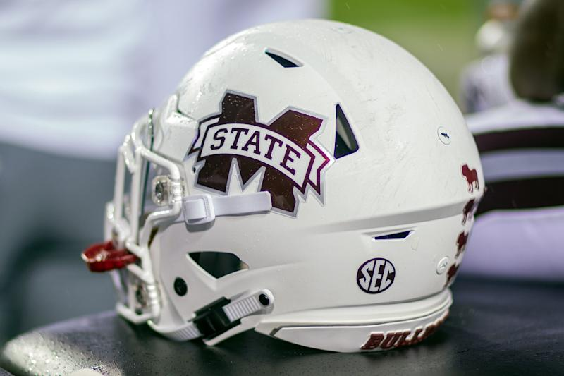 BATON ROUGE, LA - OCTOBER 20: A Mississippi State Bulldogs helmet rests on the sideline during a game between the Mississippi State Bulldogs and LSU Tigers on October 20, 2018, at Tiger Stadium in Baton Rouge, Louisiana.(Photo by John Korduner/Icon Sportswire via Getty Images)