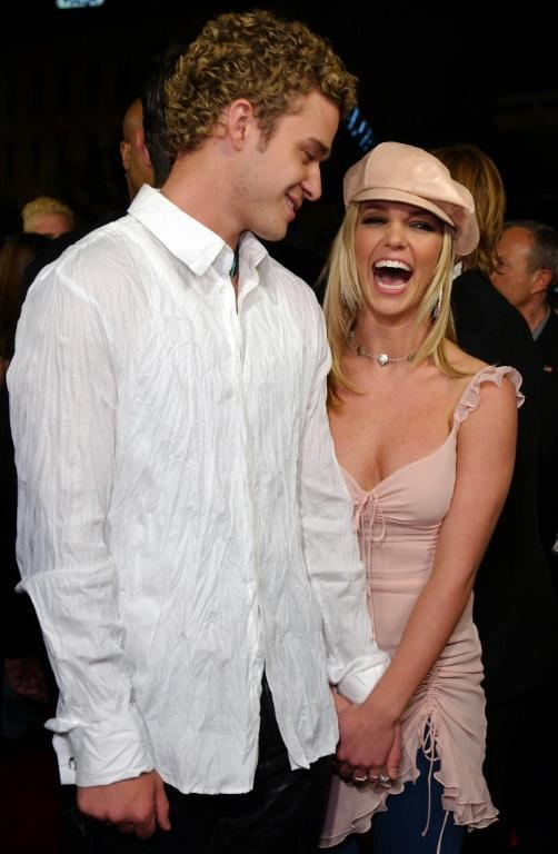 Britney Spears and her former boyfriend and fellow popstar, singer Justin Timberlake, shown here in 2002