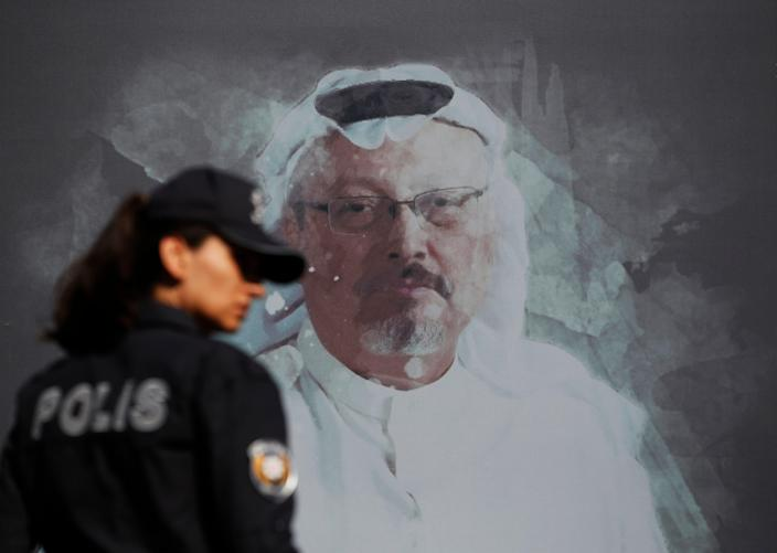 A mural in Istanbul depicts slain journalist Jamal Khashoggi, who was killed inside a Saudi consulate in the Turkish city.