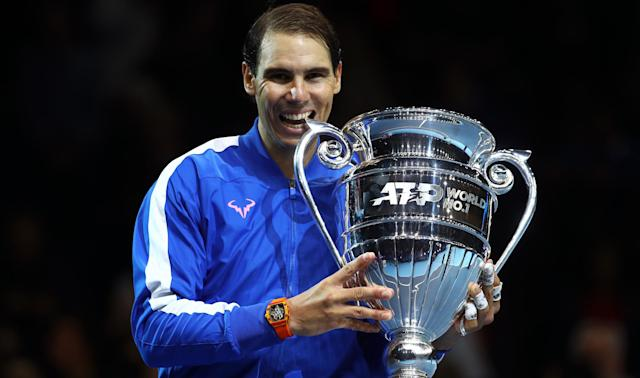 Matching Roger Federer and Novak Djokovic for year-end number one rankings pleased Rafael Nadal.