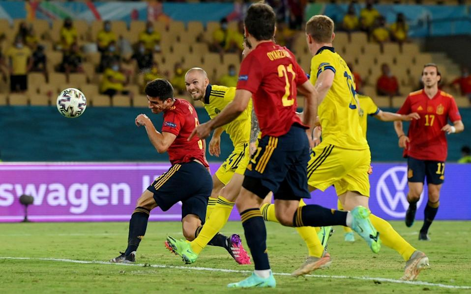 Moreno heads straight at Olsen in the Sweden goal as another chance goes begging for Spain - REUTERS