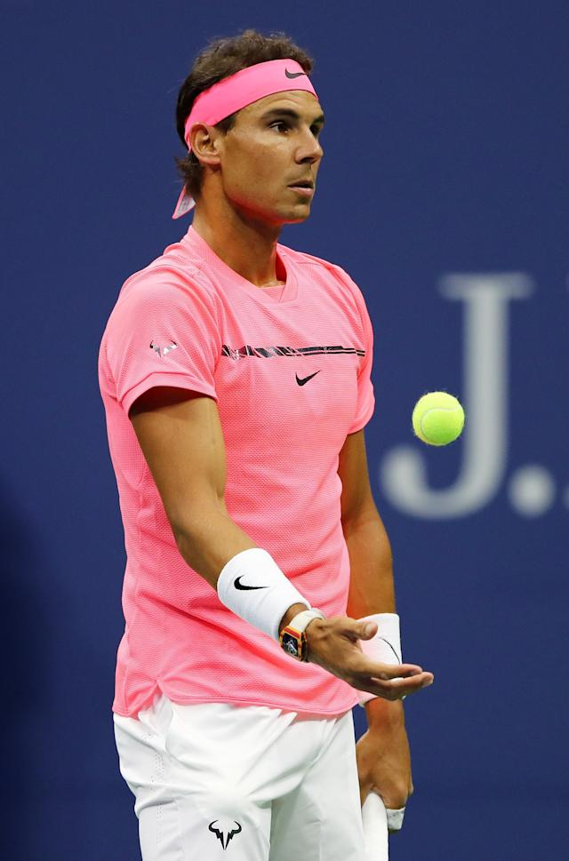 <p>Rafael Nadal of Spain prepares to serve against Dusan Lajovic of Serbia & Montenegro in thier Men's Singles first round on Day Two of the 2017 US Open at the USTA Billie Jean King National Tennis Center on August 29, 2017 in the Flushing neighborhood of the Queens borough of New York City. (Photo by Elsa/Getty Images) </p>