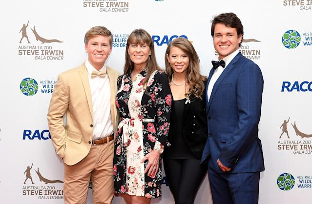 Robert Irwin, Terri Irwin, Bindi Irwin and Chandler Powell at the annual Steve Irwin Gala Dinner in Brisbane, Australia, in November. (Photo: Bradley Kanaris/Getty Images)