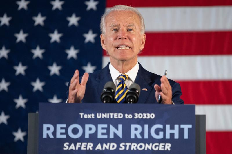 Democratic presidential candidate Joe Biden speaks about reopening the country during a speech in Darby, Pennsylvania, on June 17, 2020. (Photo by JIM WATSON / AFP) (Photo by JIM WATSON/AFP via Getty Images)