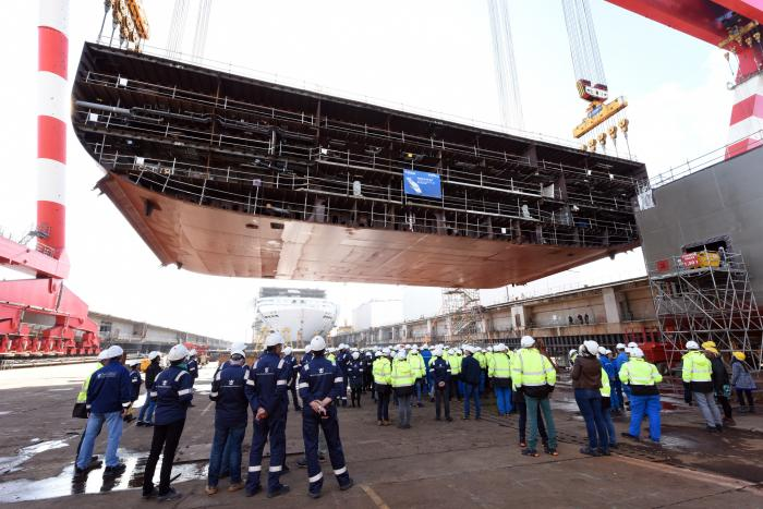 The world's next biggest ocean liner's keel was lowered into place at the shipyard on Thursday, October 10, 2019.