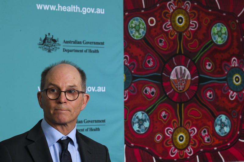 Deputy Chief Medical Officer Professor Paul Kelly speaks to the media Monday afternoon. Source: AAP
