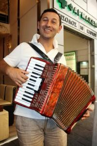 Street performer with pipe organ