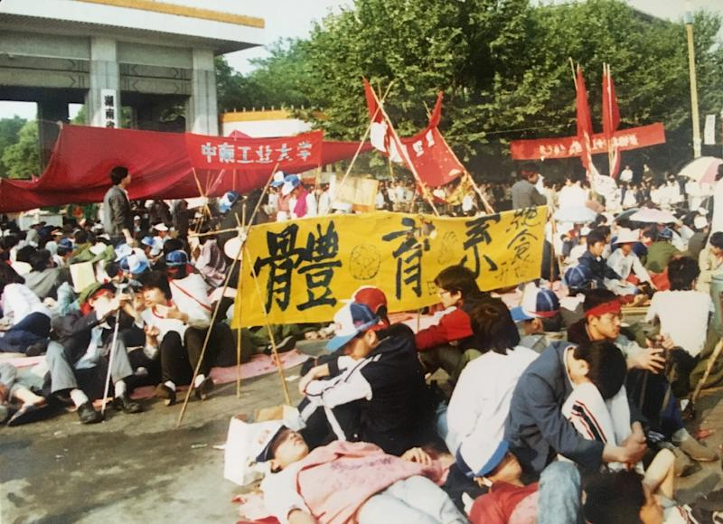 Many stories from protests in the provinces, like this one of people on hunger strike in Changsha on May 24, 1989, have been lost as the authorities erase and re-write history (AFP Photo/Andrea Worden)