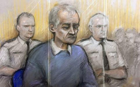 <span>Court artist sketch by Elizabeth Cook of former football coach Barry Bennell appearing at Liverpool Crown Court </span> <span>Credit: PA </span>