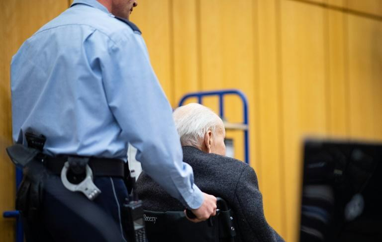 The 94-year-old former SS guard Johann Rehbogen attended court in a wheelchair