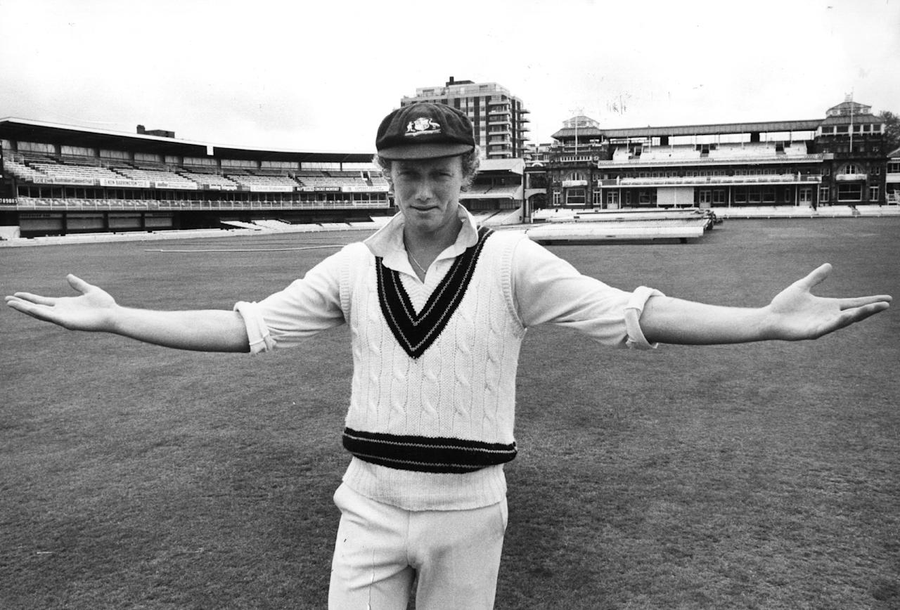 29th May 1979:  Australian captain Kim Hughes is dismayed that wintry weather conditions at Lord's cricket ground, London, meant that play was called off.  (Photo by Evening Standard/Getty Images)