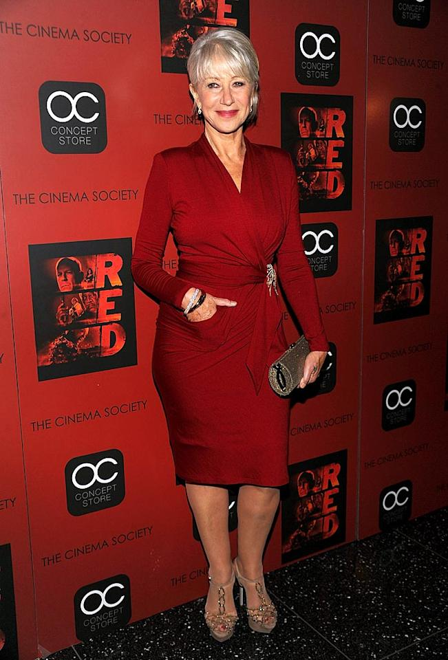 """Back in NYC, 65-year-old Helen Mirren proved once again that she still has """"it"""" upon arriving at a screening of her new action flick, """"Red,"""" in a chic Paule Ka wrap dress. A Fred Leighton brooch, Sergio Rossi strappy sandals, and a Jimmy Choo clutch completed her awesome ensemble. Dimitrios Kambouris/<a href=""""http://www.wireimage.com"""" target=""""new"""">WireImage.com</a> - October 3, 2010"""