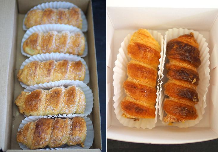 Strudel Bakery House sells their cream horns in a box of five pieces. They also offer different flavours such as chocolate, blueberry and passion fruit (left). You can buy just one or two cream horns at Fruity Bakery & Cafe from their Klang outlet (right).