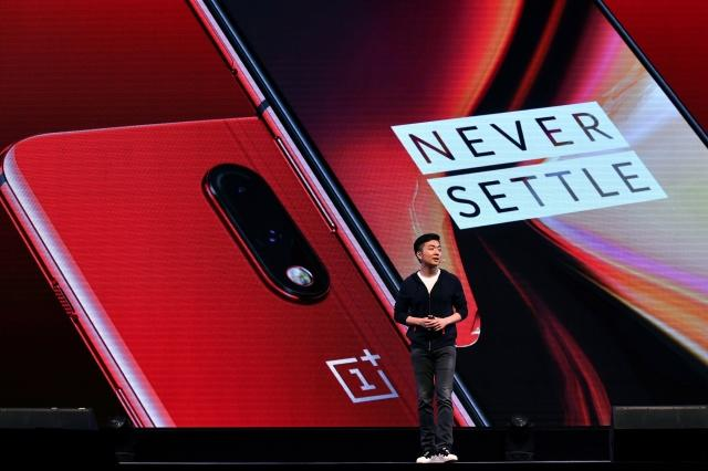 Co-founder and director of the Chinese smartphone maker OnePlus, Carl Pei gestures as he speaks on stage during the launch of their latest OnePlus 7 and the OnePlus 7 Pro during its launch in Bangalore on May 14, 2019. - The OnePlus 7 series was simultanesously launched globally from three different countries India, US, and Europe. (Photo by MANJUNATH KIRAN / AFP) (Photo credit should read MANJUNATH KIRAN/AFP via Getty Images)