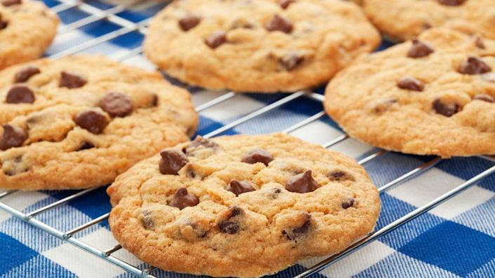 """One <a href=""""http://www.snackworks.com/products/product-detail.aspx?product=4400003219"""" target=""""_blank"""">chocolate chip cookie</a>: 5.5 grams. <br /><br />That's just one cookie, and a relatively small one (about 2 inches across) at that! A cookie of our preferred size has more like 16.5 grams of sugar. Whoops.<br /><br /><strong>TOTAL: 49.5 grams of added sugar</strong>"""