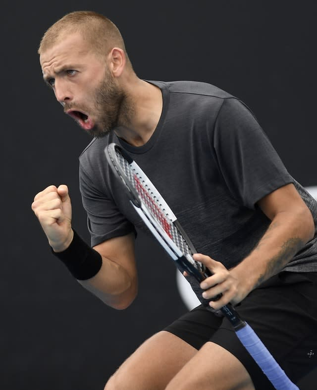 Dan Evans takes on Yoshihito Nishioka in round two (Andy Brownbill/AP)