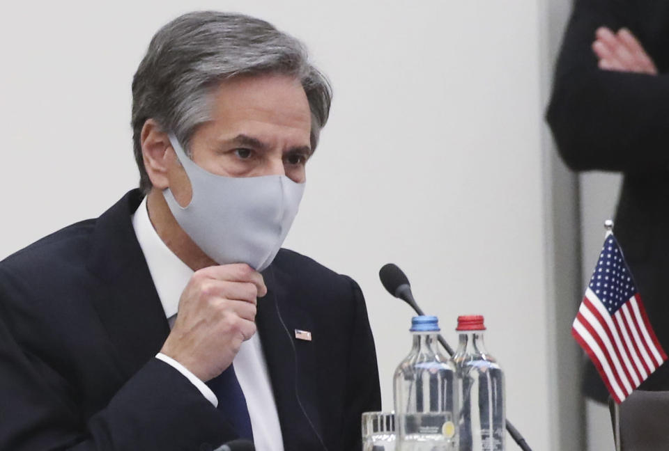 U.S. Secretary of State Antony Blinken arrives for a NATO foreign ministers meeting at NATO headquarters in Brussels, Tuesday, March 23, 2021. (Yves Herman, Pool via AP)