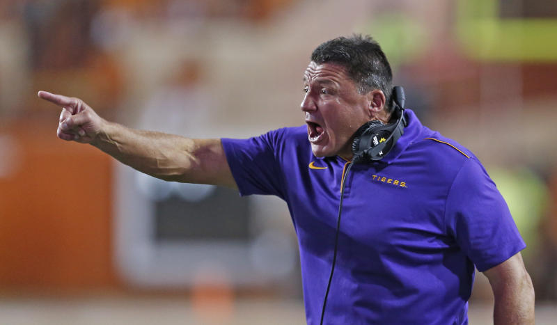 LSU coach Ed Orgeron yells out instruction during game against the Texas Longhorns on Saturday. (USAT)
