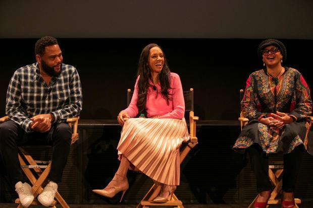 <em>(L-R): Anthony Anderson, Cole and costume supervisor Devon Patterson during a panel discussion about the Emmy-nominated episode of 'Blackish,' 'Purple Rain.'</em>