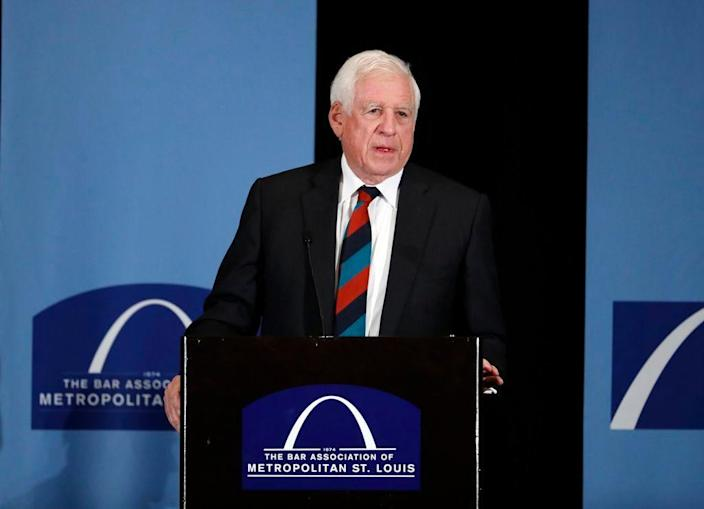 """Former U.S. Sen. John Danforth speaks at the Bar Association of Metropolitan St. Louis in St. Louis on May 5, 2017. . Danforth is critical of efforts by Sen. Josh Hawley, of Missouri, and others in Congress to challenge Democrat Joe Biden's election win. Danforth, a former three-term senator from Missouri, called the effort a """"highly destructive attack on our constitutional government."""" Danforth has previously been a longtime supporter of Hawley, backing his successful runs for Missouri attorney general in 2016 and the U.S. Senate in 2018."""
