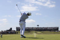 United States' Collin Morikawa hits his tee shot on the 16th hole during the second round of the British Open Golf Championship at Royal St George's golf course Sandwich, England, Friday, July 16, 2021. (AP Photo/Peter Morrison)