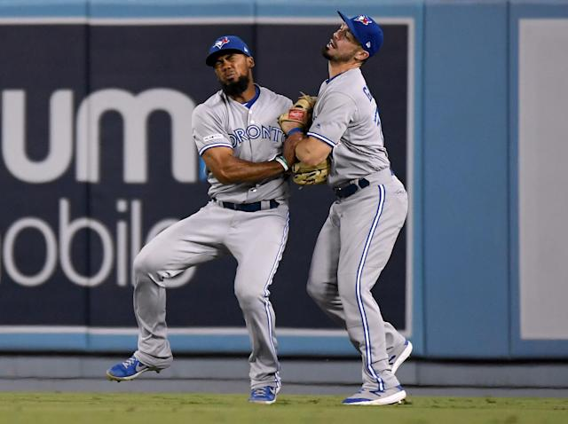 LOS ANGELES, CALIFORNIA - AUGUST 21: Technically, one of Teoscar Hernandez #37 and Randal Grichuk #15 will be the centrefielder for the 2020 Blue Jays. (Photo by Harry How/Getty Images)
