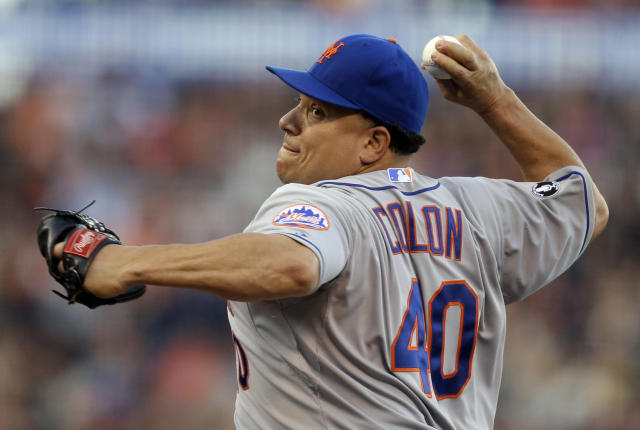 New York Mets' Bartolo Colon works against the San Francisco Giants in the first inning of a baseball game Saturday, June 7, 2014, in San Francisco. (AP Photo/Ben Margot)