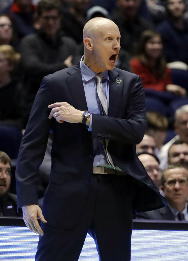 Xavier head coach Chris Mack gestures, during the second half of a second-round game against Florida State, in the NCAA college basketball tournament in Nashville, Tenn., Sunday, March 18, 2018. (AP Photo/Mark Humphrey)