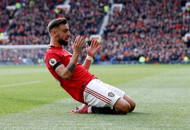 Bruno Fernandes celebrated his first Manchester United goal on Sunday (Martin Rickett/PA)
