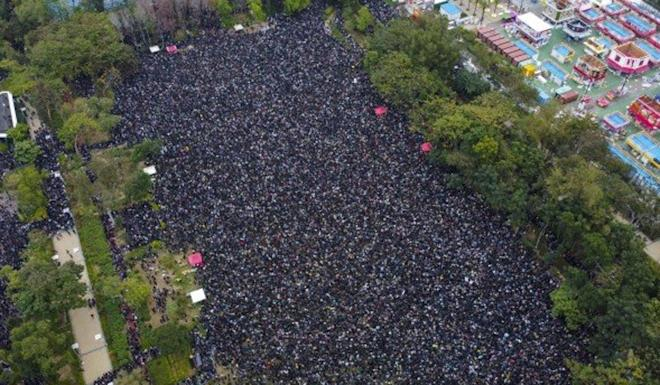 The organiser of the New Year's Day march, Civil Human Rights Front, claimed more than 1.03 million people had turned up. Photo: Martin Chan