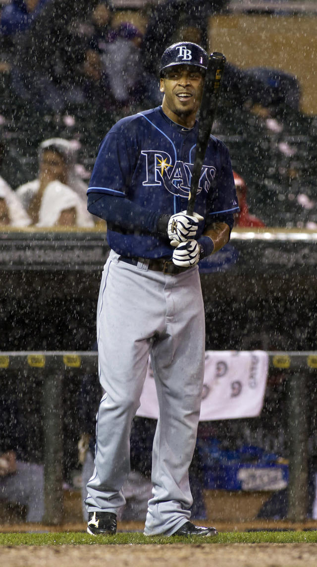 Tampa Bay Rays' Desmond Jennings steps up to the plate during the fourth inning of a baseball game against the Minnesota Twins, Saturday, Sept. 14, 2013, in Minneapolis. The game went into a rain dely shortly after. (AP Photo/Paul Battaglia)