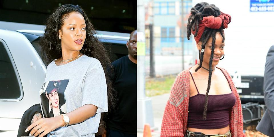 <p>The Bajan goddess always loves to switch up her tresses! In a matter of weeks RiRi went from long curly locks to sexy dreads. <i>(Photos: Getty/October 2016)</i> </p>