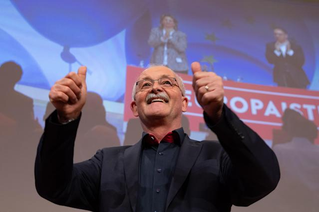 HYJ00. Berlin (Germany), 23/03/2019.- One of the top candidates of the German Social Democratic Party (SPD) for the upcoming European elections Udo Bullmann speaks during the Party Convention for the European elections campaign at the BCC - Berlin Congress Center in Berlin, Germany, 23 March 2019. The main topic of the party convention is the SPD election program for the European elections on 26 May. (Elecciones, Alemania) EFE/EPA/HAYOUNG JEON