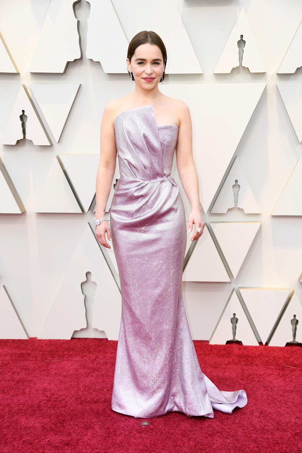 """<p>The """"Game of Thrones"""" star shined in a lilac metallic gown by Balmain. (Image via Getty Images). </p>"""