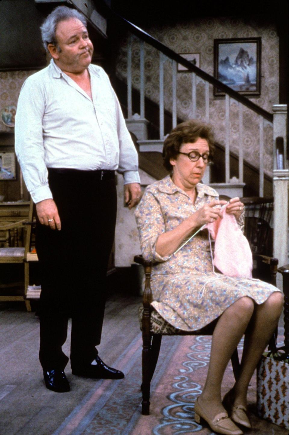 """Archie Bunker (Carroll O'Connor), left, and his wife Edith (Jean Stapleton) are standout characters from Norman Lear's most talked about comedy hit, """"All in the Family."""""""