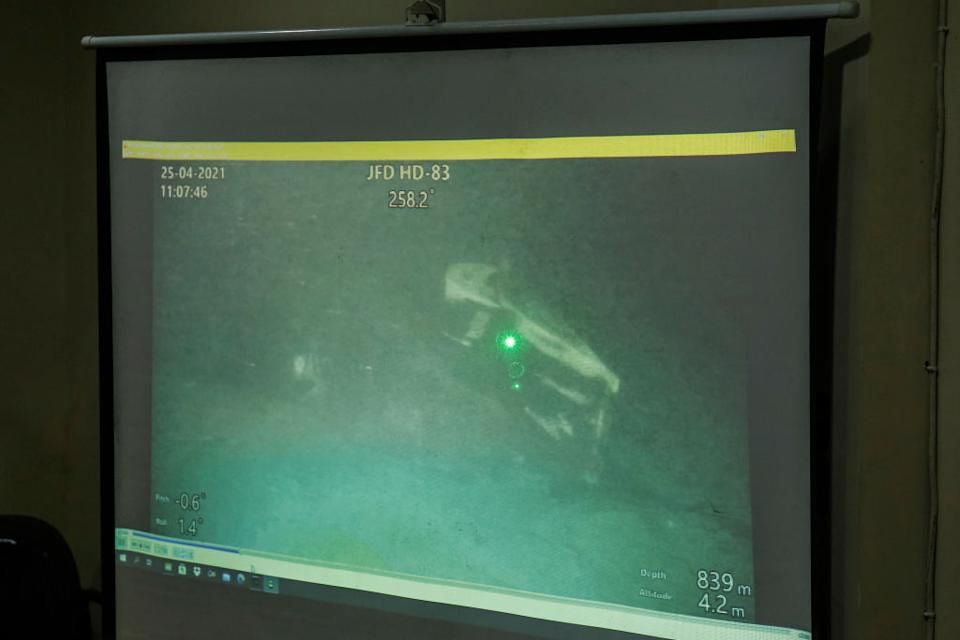 A video still showing a part of sunken Indonesian Navy submarine KRI Nanggala-402 lying on a seabed taken from a remotely operated vehicle (ROV) from MV Swift Rescue.