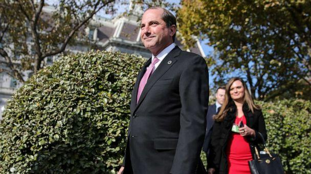 PHOTO: Health and Human Services Secretary Alex Azar walks after a TV interview at the White House on November 15, 2019 in Washington, DC. (Oliver Contreras/Sipa USA via AP)