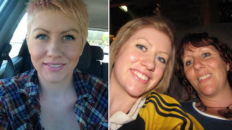 Pictured is Brooke Richardson sitting in her car (left) and (right) posing with her mother Vicki.