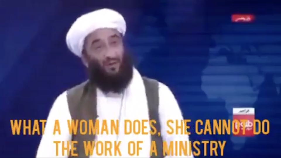 Sayed Zekrullah Hashimiwent on Afghan TV to claim that it was not necessary for women to serve in the Taliban's government  (Screenshot/TOLOnews)