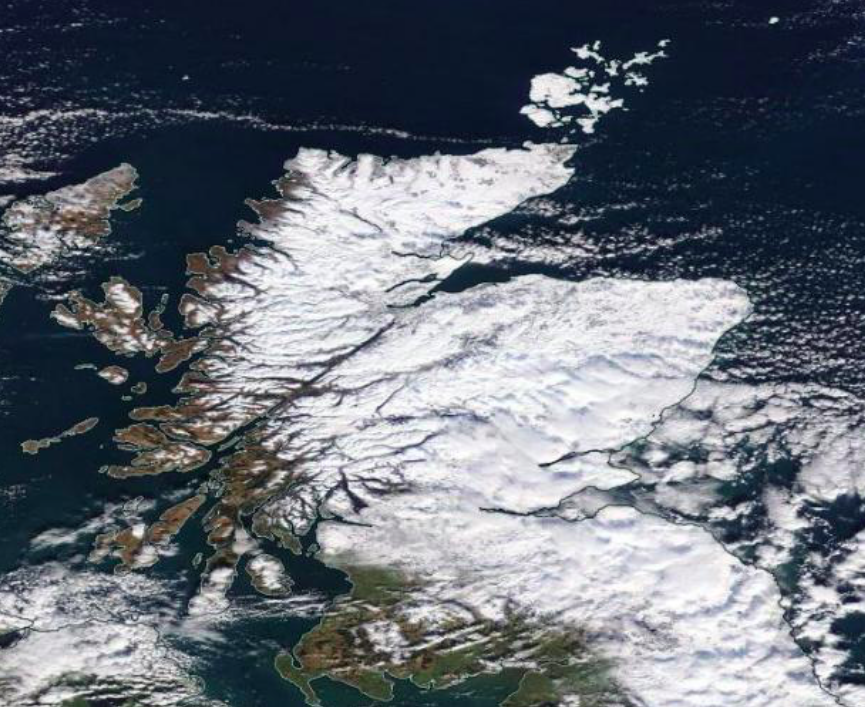 Snow is seen covering most of Scotland in satellite images from Nasa. (Nasa Worldview)