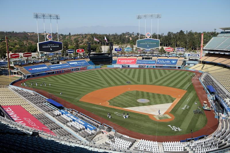 LOS ANGELES, CA - JULY 23: A general view of Dodger Stadium during batting practice prior to the game between the San Francisco Giants and the Los Angeles Dodgers at Dodger Stadium on Thursday, July 23, 2020 in Los Angeles, California. (Photo by Rob Leiter/MLB Photos via Getty Images)
