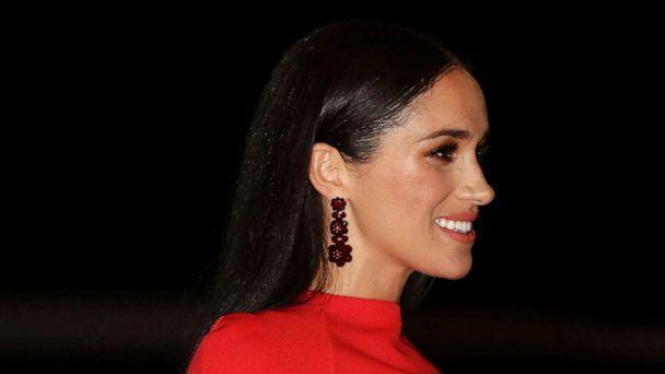 PHOTO: Meghan, the Duchess of Sussex, arrives with Prince Harry at the Royal Albert Hall in London, March 7, 2020, to attend the Mountbatten Festival of Music. (Pool-Simon Dawson/AP)