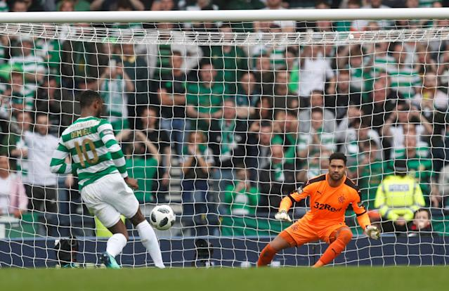 Soccer Football - Scottish Cup Semi Final - Celtic vs Rangers - Hampden Park, Glasgow, Britain - April 15, 2018 Celtic's Moussa Dembele scores their third goal from the penalty spot REUTERS/Russell Cheyne