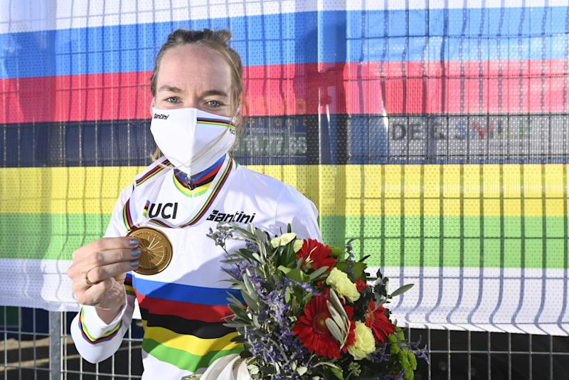 Anna van der Breggen (Netherlands) with her gold medal and rainbow jersey