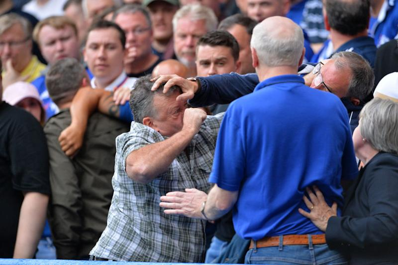 Ugly scenes at Stanford Bridge as a fight breaks out between Chelsea fans. (Photo by Plumb Images/Leicester City FC via Getty Images)