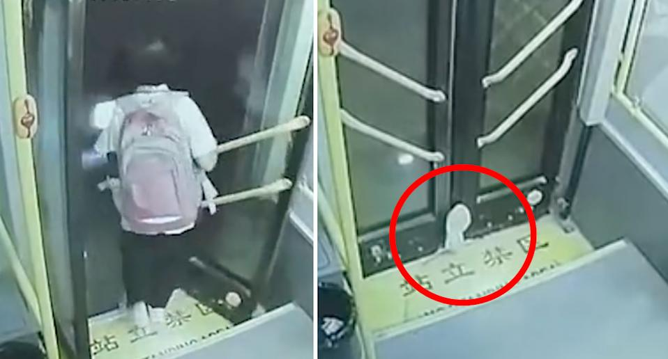 A schoolgirl in China walks off the bus (pictured left is her leaving the bus) before becoming trapped in its door and dragged down the street (right is her foot pictured wedged in the door).